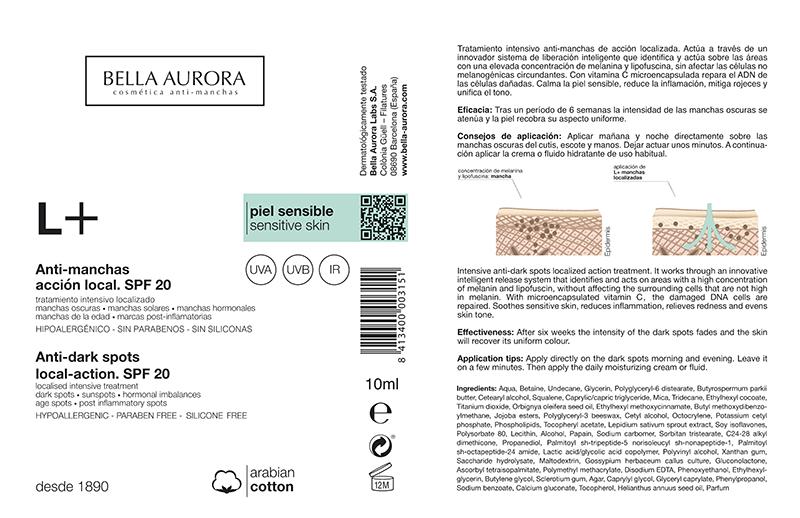 etiquetas crema antimanchas